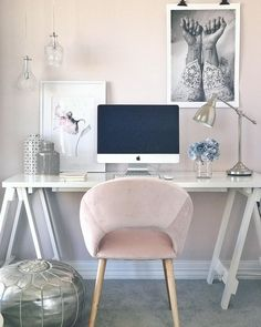 Peach, pink, and white workspace | home office | chic workspace