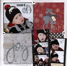 Red & Gray Christmas Joy Page...with reindeer.
