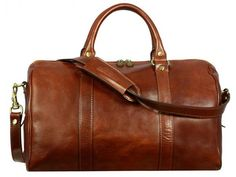 BROWN LEATHER SMALL DUFFEL BAG - THE AMBASSADORS
