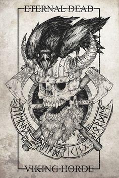 Viking Horde – tshirt design on Behance Viking Horde – Tshirt sur Behance Viking Symbols, Viking Art, Viking Runes, Viking Life, Tattoo Drawings, Body Art Tattoos, Small Tattoos, 3d Tattoos, Tattoo Ink