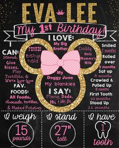 Pink and Gold Glitter Minnie Mouse First Birthday Chalkboard Poster - Can easily be customized. - Contact me via email at aswiney01@yahoo.com or simply click on the image to visit my facebook page to message me. I can design this or any other chalkboard print you want for only $15. Be sure to check out my other designs on my facebook page or on this Pinterest board.
