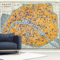 Add some colour to your walls with this custom-made Map of Paris 1926 wallpaper. World Map Wallpaper, Photo Wallpaper, Wall Wallpaper, Concrete Bath, Library Images, Us Destinations, Paris Map, Wall Murals, City Photo