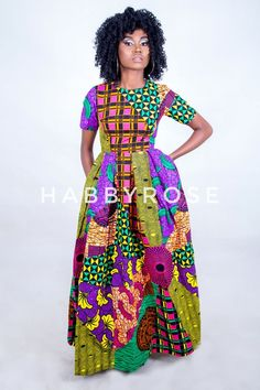 Somto Mixed Print Maxi dress with pockets African dress Long. This beautiful Maxi dress is handmade with love. It is made to fit buyer's exact measurements. Ankara Maxi Dress, African Maxi Dresses, African Attire, African Outfits, African Wear, Ankara Blouse, Dashiki Dress, African Women, African Fashion Designers
