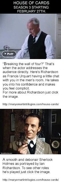 To see other roles Ian Richardson played just click the image.  Link to video: https://www.pinterest.com/pin/99853316714306850/  http://maryemartintrilogies.com/house-cards/  #House of #Cards #Ian #Richardson, #Kevin Spacey, #suspense #novels #movies #television #theatre #power #corruption #politics #President #Prime Minister