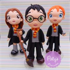 Kit 3 Miniaturas / enfeites de mesa - Festa Harry Potter - Paty's Biscuit