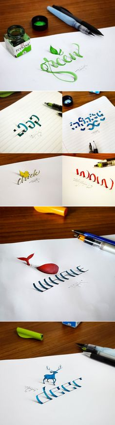 Istanbul-based artist Tolga Girgin creates beautifully scripted calligraphy that seems to leap off the page.