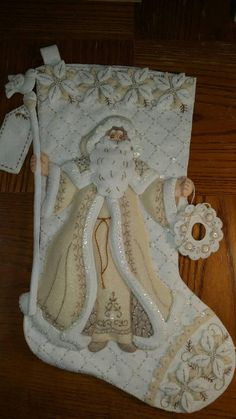 Items similar to Finished Bucilla 85318 18 in diagonal stocking White Christmas ! on Etsy Felt Christmas Stockings, Christmas Stocking Pattern, Felt Stocking, Felt Christmas Ornaments, Christmas Angels, Christmas Crafts, Wool Applique Quilts, Felt Applique, Christmas Colors