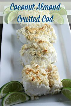 Baked Cod goes from ordinary to extraordinary when it melds with coconut, almonds and a hint of lime. This Coconut Almond Crusted Cod recipe from CookingInStilettos.com will be a family favorite! | @CookInStilettos