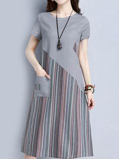 Striped Patchwork O Neck Short Sleeve Pocket Women Dresses