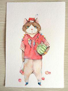 一只猫奶爸(带过程)-那仁_水彩,猫,手绘,小清新_涂鸦王国插画