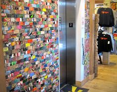 Recycled Mosaic Sk8 Tile (made of skateboard decks). Would be very cool in a teen area