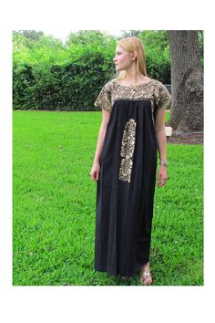 San Antonino Short Sleeve Dress with Gold Embroidery - 3 Colors Available - Multiple Sizes