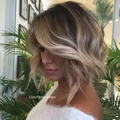 brown bob with blonde balayage