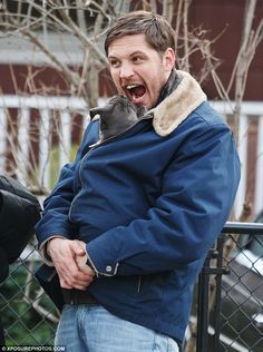 Puppy love! Tom Hardy zips adorable pooch inside his winter jacket as ...