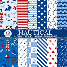 12 Nautical Digital Scrapbook Paper, digital paper patterns for card making, invitations, scrapbooking - Instant download graphics