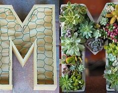 10 inch DIY Letter Planter Box Initial Monogram for Succulents | Etsy