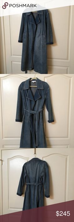 ROBERT RODRIGUEZ JEAN TRENCH All year round jean trench coat. Style, fashion, current, and timeless all in one. Lined partially on sides but entire coat is 100%cotton so maintenance is easy! Can wear over maxis, short dresses or any kind of trouser to perk up your casual attire. Purposely distressed. Approx 46 in long from shoulder Robert Rodriguez Jackets & Coats Jean Jackets