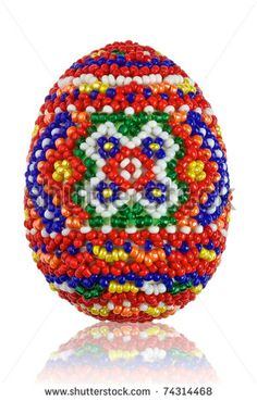 Easter egg from beads. Handwork