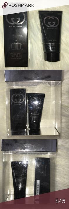 Gucci guilty men's fragrance travel set Brand new. Spray is 30Ml. Shampoo is 50Ml. Travel set Gucci Accessories