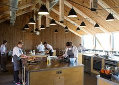 Satellite Architects adds a new cookery school to the River Cottage headquarters Cooking For A Group, Cooking School, Cooking Classes, River Cottage, Restaurant Kitchen, Restaurant Design, Restaurant Ideas, School Architecture, Interior Architecture
