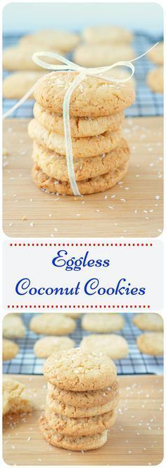 Homemade cookies made with unsweetened desiccated coconut.Step by step Eggless Coconut cookies. How to make quick and easy eggless coconut cookies. Eggless Cookie Recipes, Eggless Desserts, Eggless Baking, Coconut Recipes, Sweets Recipes, Vegan Desserts, Galletas Cookies, Coconut Cookies, Cupcakes