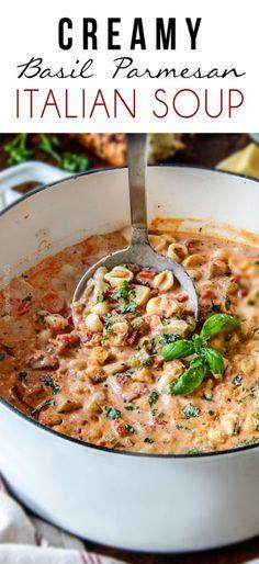 Creamy Basil Parmesan Italian Soup 45 mins to make, serves 6
