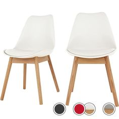 Set of 2 Thelma Dining Chairs, Oak and White from Made.com. Light Wood/White. Let's be honest. Comfy, family-friendly dining chairs don't always scr..