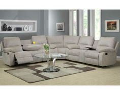 Grey Reclining Sectional with Cup Holder