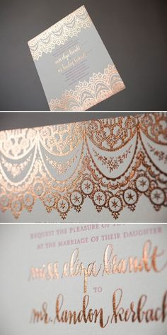 Copper Foil Wedding Invitations with Hot Pink letterpress. Wedding Themes, Wedding Blog, Diy Wedding, Dream Wedding, Wedding Decorations, Wedding Day, Trendy Wedding, Wedding Reception, Wedding Venues