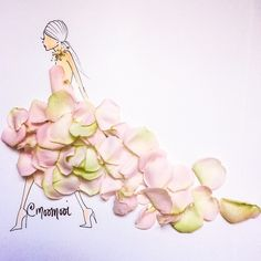 Haute Couture — MooMooi™ by Meredith Wing Floral Fashion, Fashion Art, Wings Design, Pressed Flower Art, Creative Artwork, Flower Dresses, Flower Petals, Trends, Fashion Illustrations