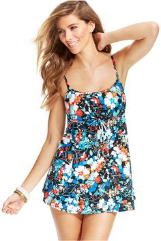 25a2a06ccc Swim Solutions Floral-Printed Swimdress. Home Shopping Network · Cute One  Piece Bathing Suits ...