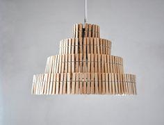 Clips II lámpara colgante de pinzas de madera, lampara de techo, lámpara industrial, industriale, pinzas de madera, pantalla, eco, madera
