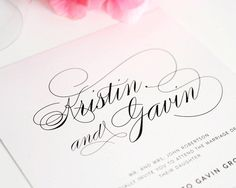 Wedding Invitation, Elegant Wedding Invitation, Simple, Large Names, Wedding Invites - Script Elegance Design - Deposit to Get Started on Etsy, $100.00