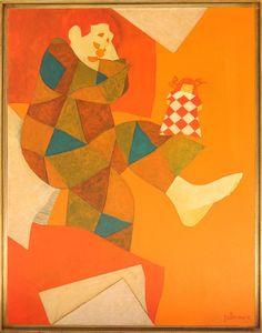 GUSTAVO ROSA ( 1946  2013 )   Palhaço  óleo sobre tela medindo 90 X 70 cm assinado e datado 1975