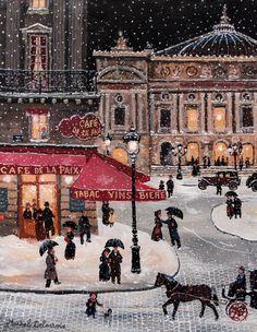 Michel Delacroix ~ Place de l'Opera sous la neige