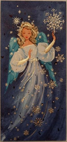 Absolutely gorgeous Christmas angel on a vintage Christmas card. Vintage Greeting Cards, Vintage Christmas Cards, Retro Christmas, Vintage Holiday, Christmas Greeting Cards, Christmas Greetings, Holiday Cards, Christmas Crafts, Christmas Decorations