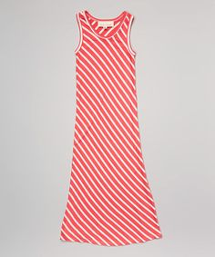 Another great find on #zulily! Coral & White Stripe Maxi Dress - Toddler & Girls by Retro Rags #zulilyfinds