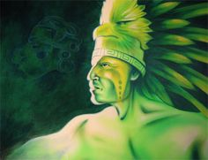"""Beautiful Art Work  'Quetzal'  Size: 16"""" x 20""""  Media: Airbrushed Acrylic & Oil on Canvas"""