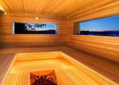 Wooden cabin by Andre Tchelistcheff Architects houses a sauna in the Hudson Valley.