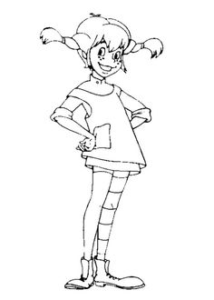 Art Drawings Sketches, Cartoon Drawings, Colouring Pages, Coloring Sheets, Kids Silhouette, Kids Things To Do, Pippi Longstocking, Coloring For Kids, Projects For Kids