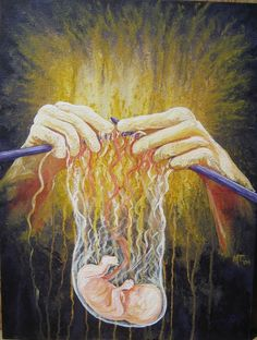 Painting, God knits us together in our mother's womb ( Psalm Artwork by Michele P. He loves and values us all so much! Art Visionnaire, Birth Art, Pregnancy Art, Jesus Art, Prophetic Art, Biblical Art, Jesus Pictures, Christian Art, Christian Paintings