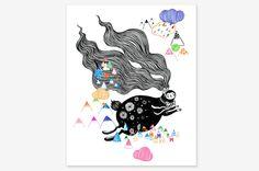 "Flying bunny - Art Print 8"" x 10"" | - Oh OnlineStore"