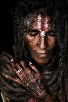 """A lady sadhu """"Saints and mystics have developed considerable degrees of concentration and ability to exclude the mind's activities from the field of awareness."""" (Mooni Sadhu)"""