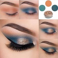 ▷ ideas and inspirations on how to make up your eyes .- ▷ 1001 + Ideen und Inspirationen, wie Sie Ihre Augen schminken eye make-up manual-make-up-by-brown-eyes eyeshadow-in-blue-and-gold-festive make-up - Makeup Geek, Makeup Inspo, Eyeshadow Makeup, Makeup Inspiration, Beauty Makeup, Hair Makeup, Easy Eyeshadow, Teal Makeup, Makeup Remover