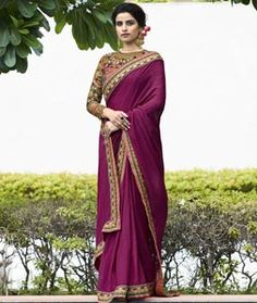 Buy Purple Silk Party Wear Saree 77443 with blouse online at lowest price from vast collection of sarees at Indianclothstore.com.