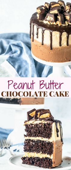 Peanut Butter Chocolate Cake. Layer Cake filled and covered with Peanut Butter Cream cheese frosting. Topped with Ganache drizzle and homemade peanut butter cups. #cake #peanutbutter #ganache #layercake #peanutbuttercup #chocolatecake #chocolatepeanutbutter