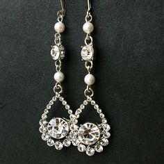 Swarovski Crystal and Pearl Bridal Earrings Vintage by luxedeluxe, $38.00