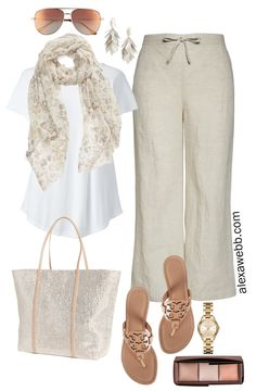 Plus Size Linen Pants Outfit - Scarf, T-Shirt, Sequin Tote, Tory Burch Miller Sandals , Aviator Sunglasses - Plus Size Summer Neutral Outfit - alexawe. Komplette Outfits, Summer Outfits, Casual Outfits, Fashion Outfits, Fashion Pants, 60 Fashion, Plus Size Fashion, Womens Fashion, Fashion Trends