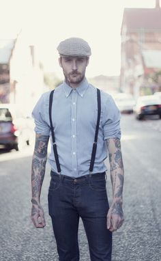 suspenders. much hotter on guys than girls i think....damn, he is pretty.