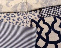 Nice scale, pattern combo, monocramatic color scheme in fabric choices. Eclectic Dining Chairs, Fabulous Fabrics, Traditional Decor, Pattern Mixing, Blue Fabric, Home Living Room, Fabric Patterns, Color Schemes, Blue And White